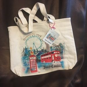 """🆕JUICY """"COUTURE THE WORLD""""  CANVAS TOTE free 🎁"""